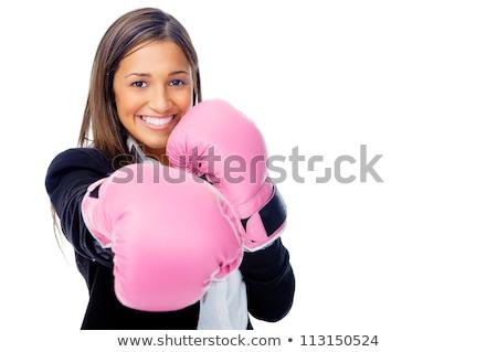 ボクシンググローブ · ビジネス女性 · 怒っ · ビジネス · 積極的な - ストックフォト © deandrobot