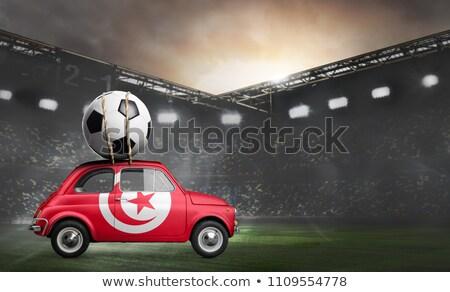 Россия Тунис миниатюрный флагами изолированный белый Сток-фото © tashatuvango