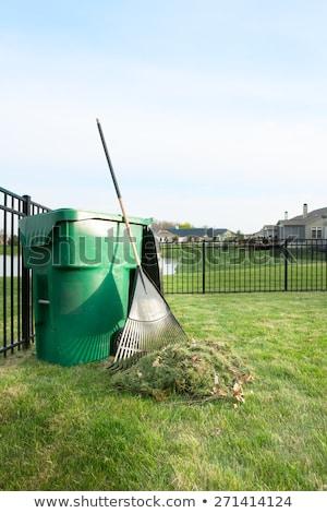 raking up grass cuttings in spring stock photo © ozgur