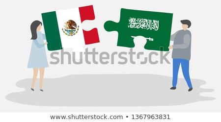 Meksika Suudi Arabistan bayraklar bilmece vektör görüntü Stok fotoğraf © Istanbul2009