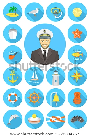 flat nautical icons with young attractive captain stock photo © vectorikart