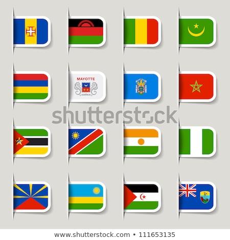 Bayrak etiket Fas yalıtılmış beyaz imzalamak Stok fotoğraf © MikhailMishchenko