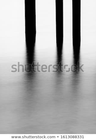 fából · készült · pólus · tó · naplemente · tájkép · háttér - stock fotó © pedrosala