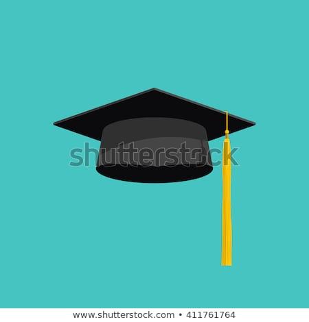 Student afstuderen cap Blauw icon ontwerp Stockfoto © blaskorizov