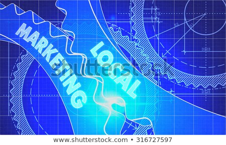 Helyi marketing terv fogaskerekek technikai rajz Stock fotó © tashatuvango