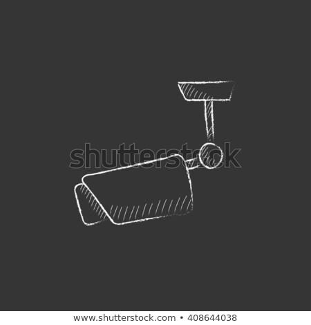 Outdoor surveillance camera icon drawn in chalk. Stock photo © RAStudio