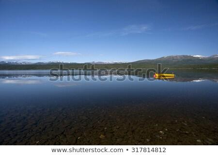 Citromsárga csónak nyugalmas tó hó fedett Stock fotó © slunicko