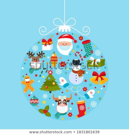Merry Christmas card with Santa, ball and tree Stock photo © Morphart