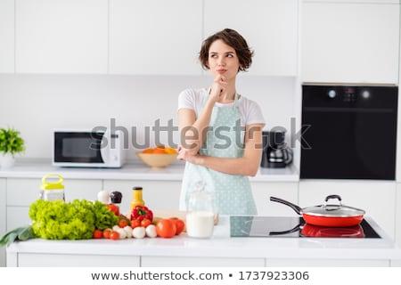 junge · Mädchen · Denken · Küche · Familie · Haus · Mädchen - stock foto © Paha_L