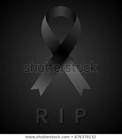 Fekete gyász szalag felirat béke vektor Stock fotó © saicle