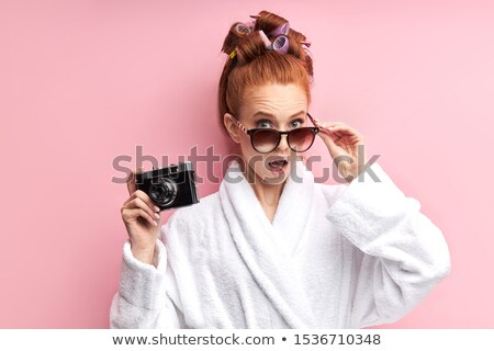 retrato · feliz · mujer · albornoz · mirando - foto stock © deandrobot