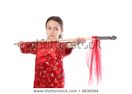 Kung fu girl with spear Stock photo © Paha_L
