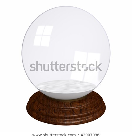 Empty Christmass glass globe with wooden base isolated on white  Stock photo © lenapix