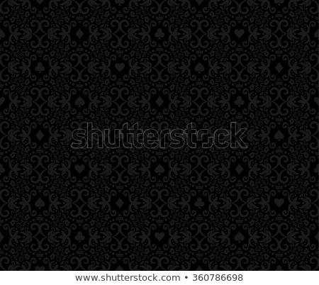 Black seamless poker background with darkgrey damask pattern and cards symbols Stock photo © liliwhite