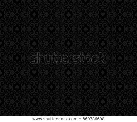 black seamless poker background with darkgrey damask pattern and cards symbols stock photo © liliwhite
