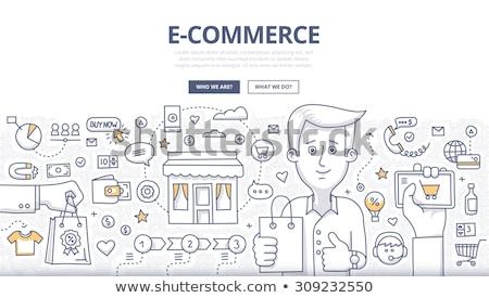 e commerce concept with doodle design style on line marketing stock photo © davidarts