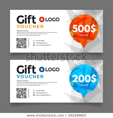 Voucher Gift Card layout template for your promotional design, tickets  Stock photo © DavidArts