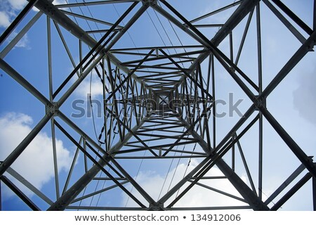High voltage electricity pylon with wires, low wide angle view Stock photo © stevanovicigor