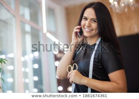 魅力のある女性 美しい 長い 黒い髪 はさみ ストックフォト © deandrobot