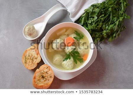 Tasty starter of homemade meatball soup Stock photo © ozgur