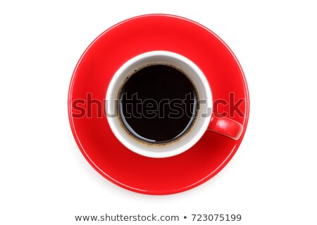 Red cup of coffee on a saucer stock photo © watsonimages