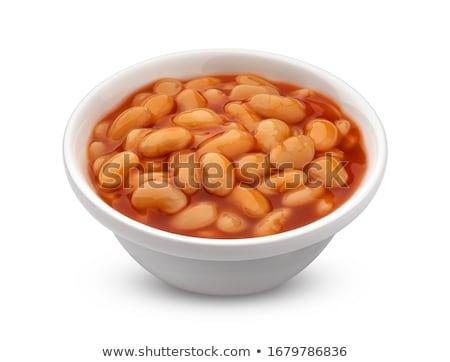 ストックフォト: 豆 · 白 · トマトソース · 食品 · クローズアップ