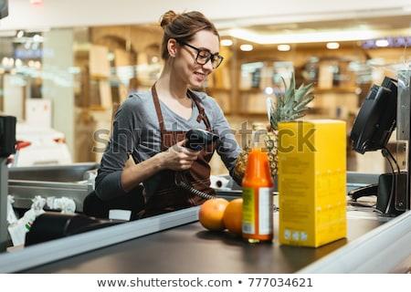 Supermarkt kassier illustratie voedsel baan cash Stockfoto © adrenalina