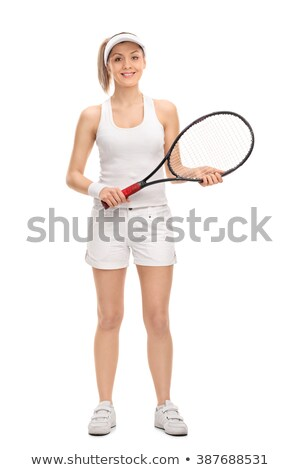 Teljes alakos portré mosolyog női teniszező áll Stock fotó © deandrobot