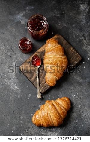 croissant · jam · witte · achtergrond · Rood · ontbijt - stockfoto © filipw