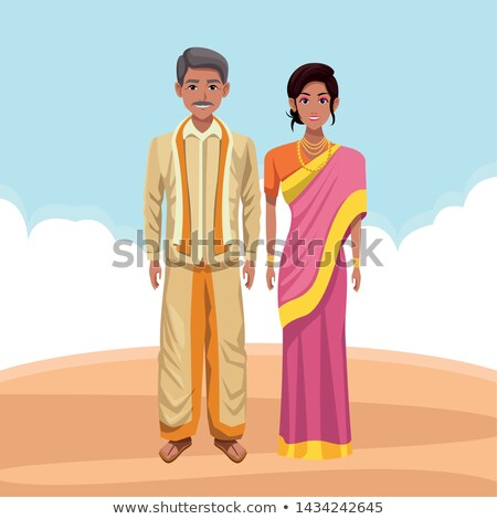 Stock photo: Indian couple in the desert