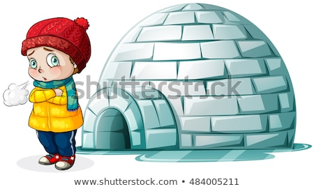 Boy standing in front of igloo Stock photo © bluering