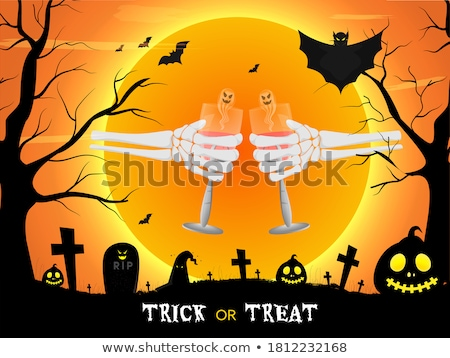 Skeleton hand holding pumpkin Stock photo © Novic