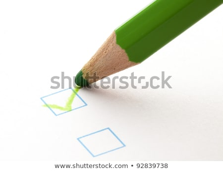 Stok fotoğraf: Survey Box Green Pencil Check Mark