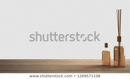 Foto stock: Empty Transparent Bottles On A White Wood Background Home Decor