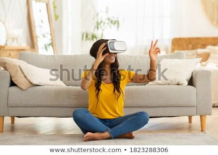 Afrikai nő virtuális valóság szemüveg otthon Stock fotó © vectorikart