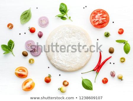 Pizza ingredientes alimentos madera fondo cocina Foto stock © M-studio