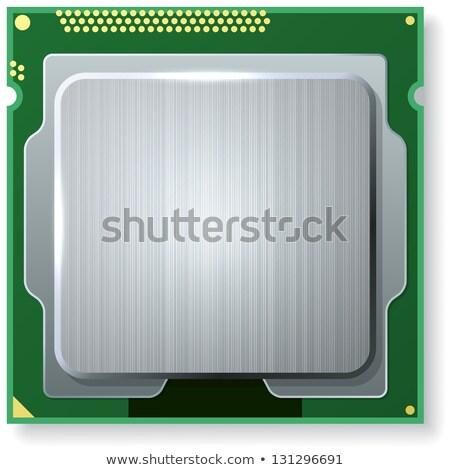 ilustração · computador · microchip · isolado · verde · ilustração · 3d - foto stock © tussik