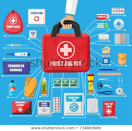 First Aid Kit Symbol and Medical Services Icon. Flat Design. Stock photo © WaD