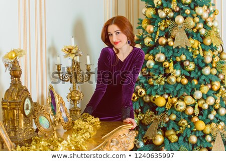 Jonge elegante dame Rood interieur vrouw Stockfoto © majdansky