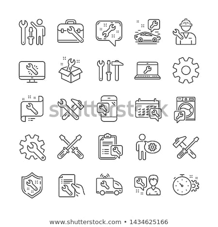 ノートパソコン メンテナンス アイコン デザイン 孤立した 実例 ストックフォト © WaD