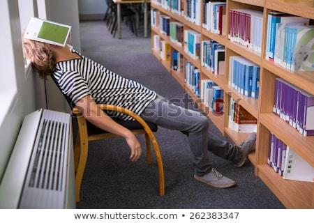 maschio · studente · dormire · desk · libro · giovani - foto d'archivio © rastudio