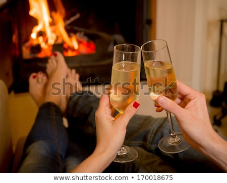 Lovers drinking champagne Stock photo © deandrobot
