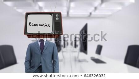 бизнесмен телевизор голову экономика текста Сток-фото © wavebreak_media