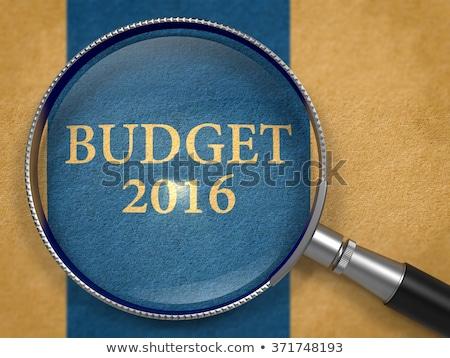 Orçamento 2016 lupa papel velho escuro azul Foto stock © tashatuvango
