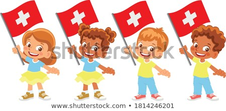 Erkek kız bayrak örnek gülümseme çocuklar Stok fotoğraf © bluering