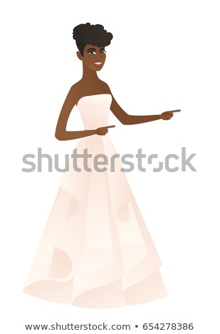 African-american fiancee pointing to the side. Stock photo © RAStudio