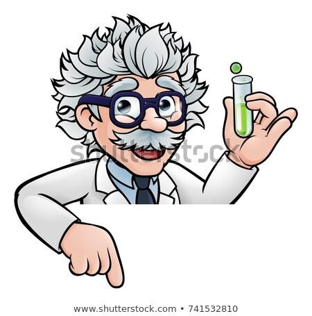 Cartoon wetenschapper reageerbuis wijzend teken Stockfoto © Krisdog
