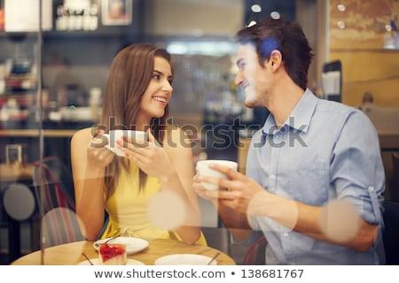 paar · datum · coffeeshop · shot · holding · handen · vrouw - stockfoto © chesterf