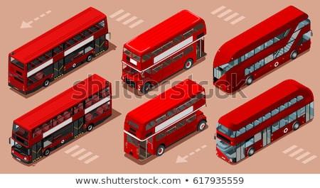 Foto d'archivio: Isometrica · illustrazione · rosso · bus · vettore · 3D