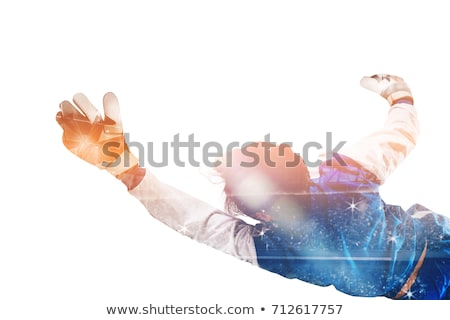 Diving goalkeeper with double exposure Stock photo © alphaspirit